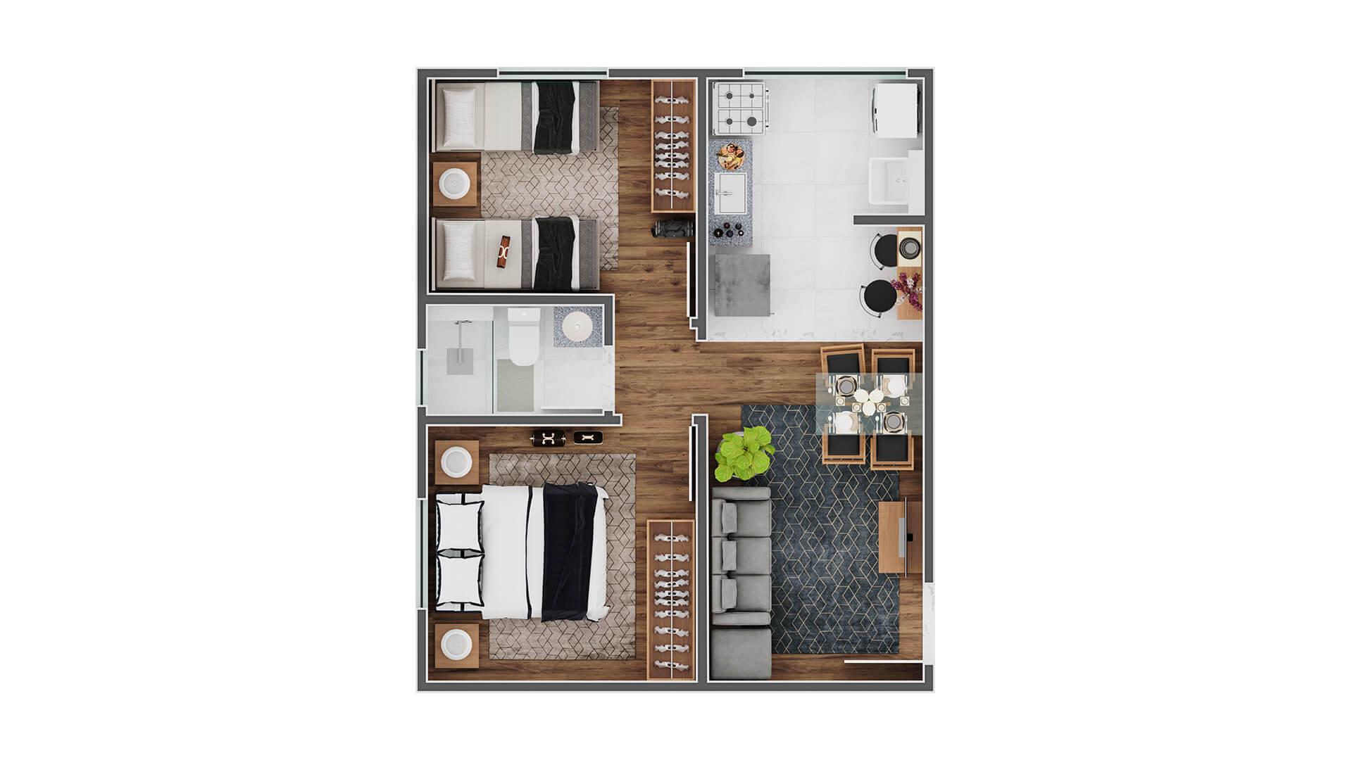 Planta apartamento tipo - canto - Reserva Benfica