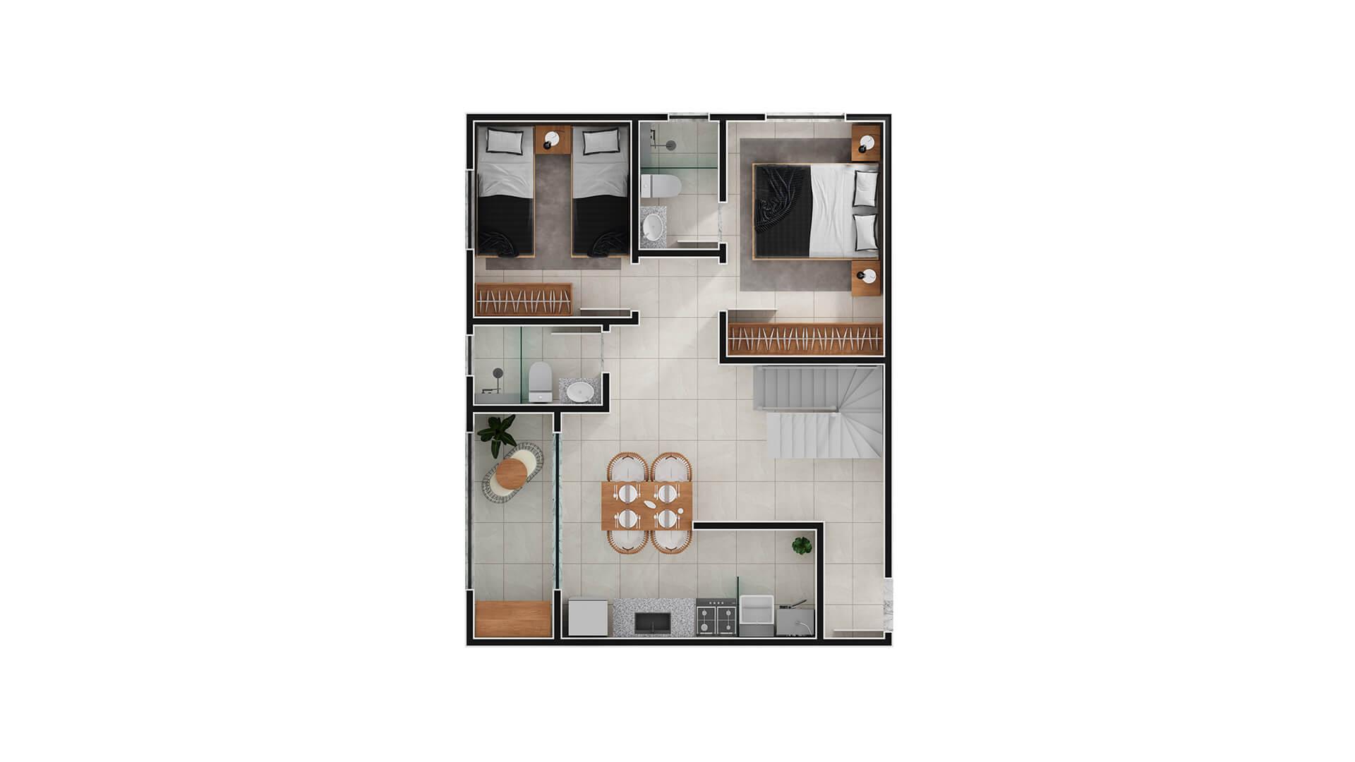 cobertura canto torre 1 - 1º andar - Upside Club