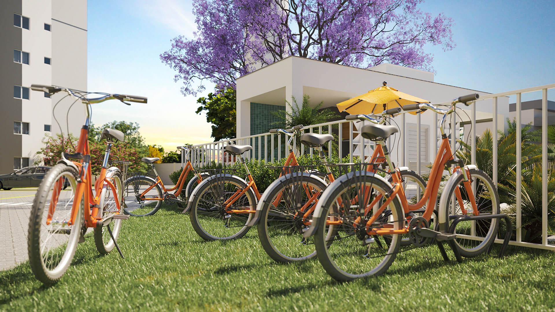 Bicicletário e bicicletas compartilhadas - Reserva Benfica
