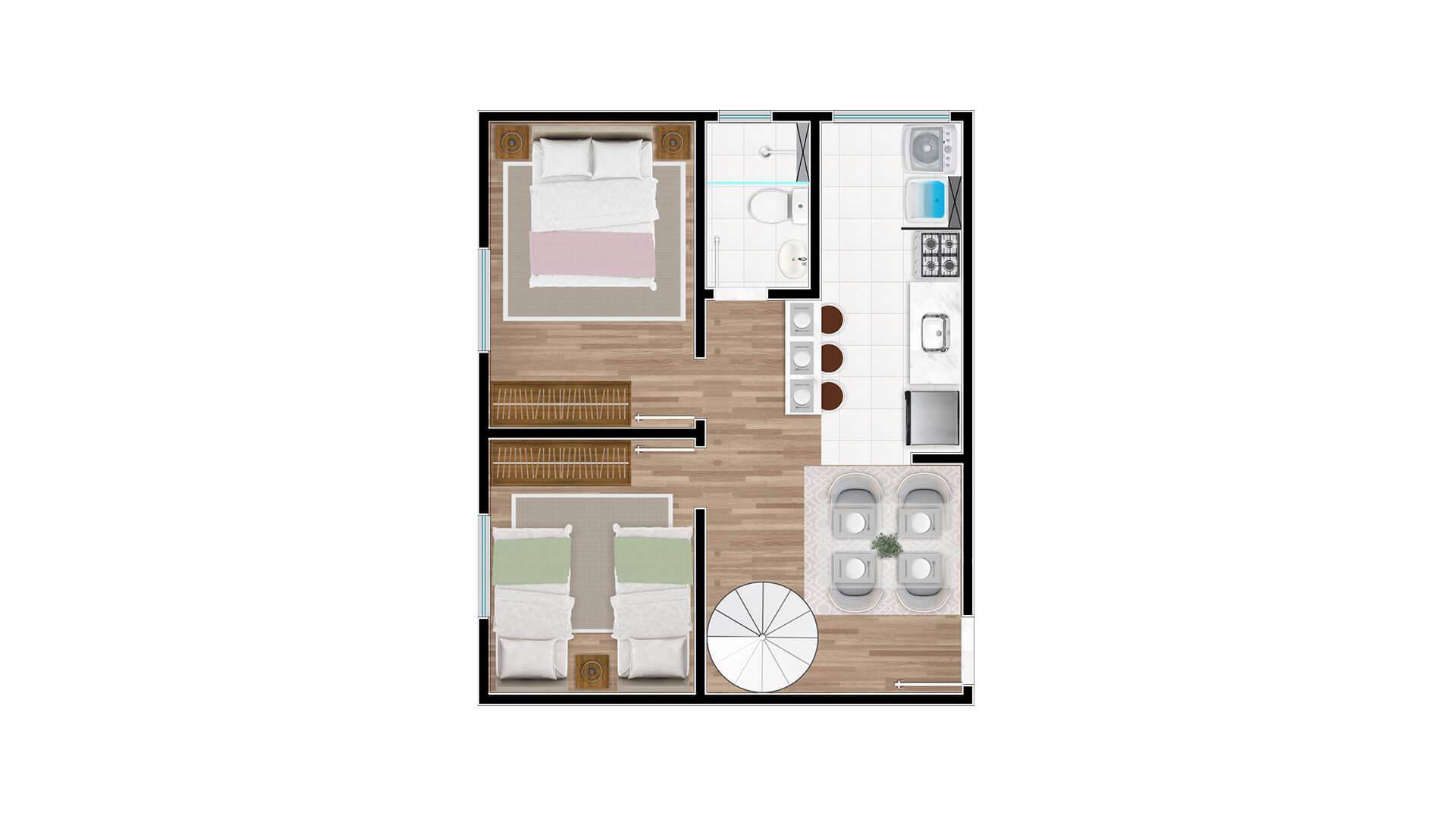 Cobertura Tipo 1 - 1º andar - Millennium Residence