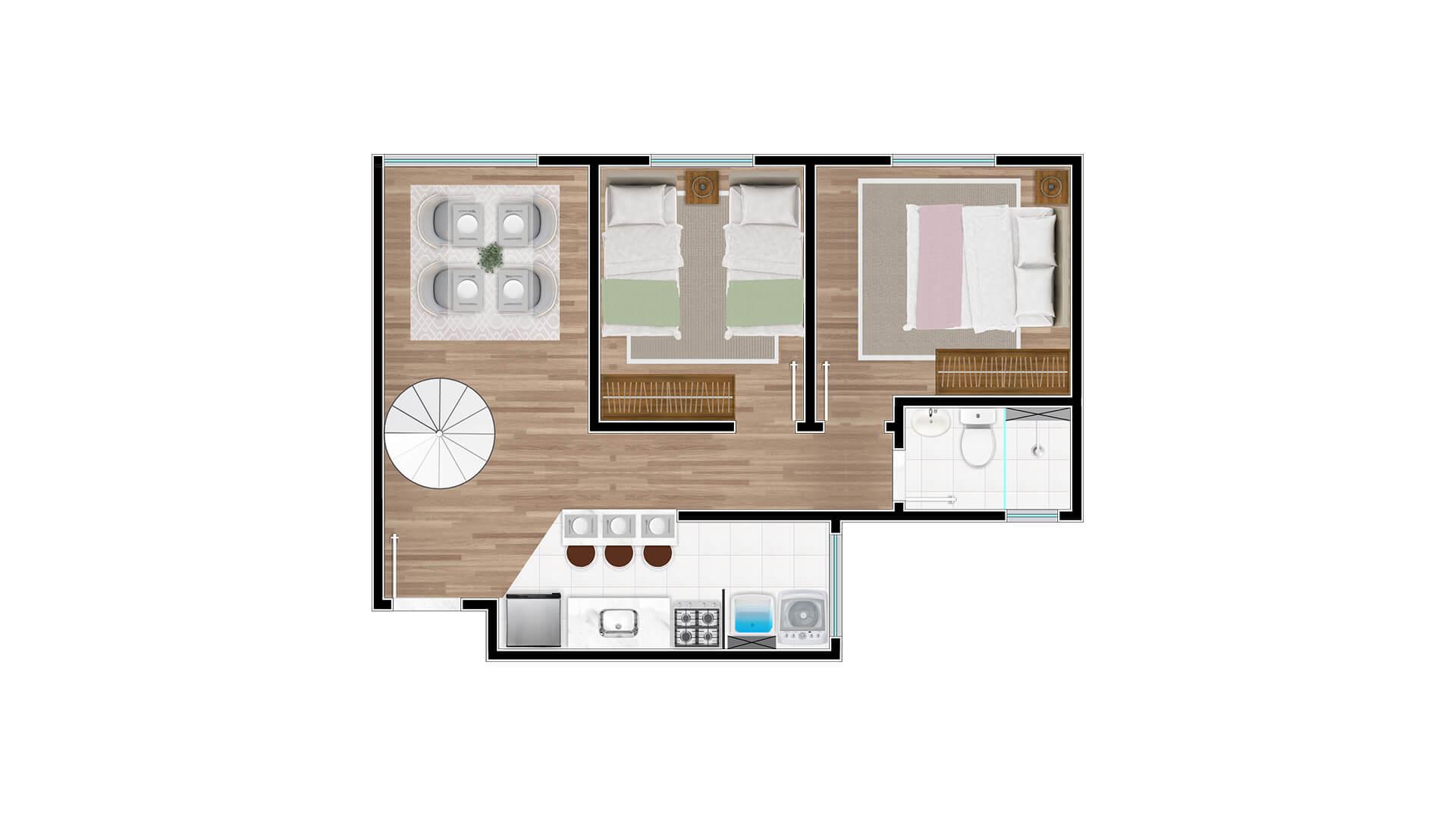 Cobertura Tipo 2 - 1º andar - Millennium Residence
